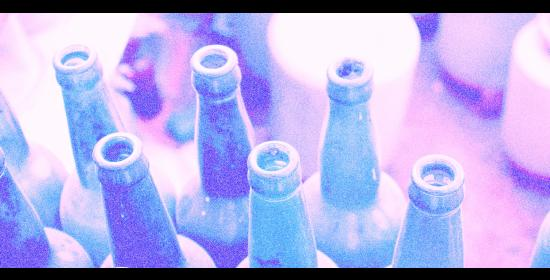 faded picture of empty green wine bottles