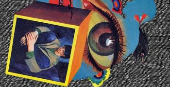 collage of a boy in a box with a large eye